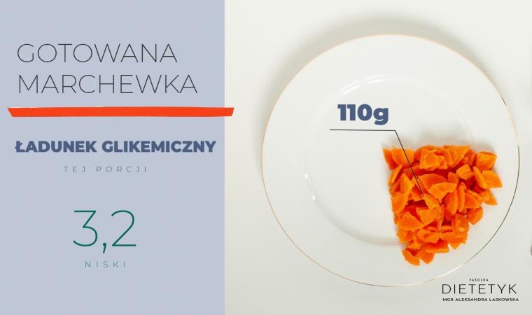 przedstawienie ilości gotowanej marchewki (110g), która ma niski ładunek glikemiczny