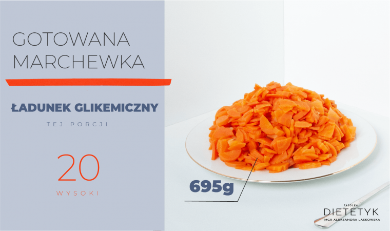 przedstawienie ilości gotowanej marchewki (695g), która ma wysoki ładunek glikemiczny, widok z boku