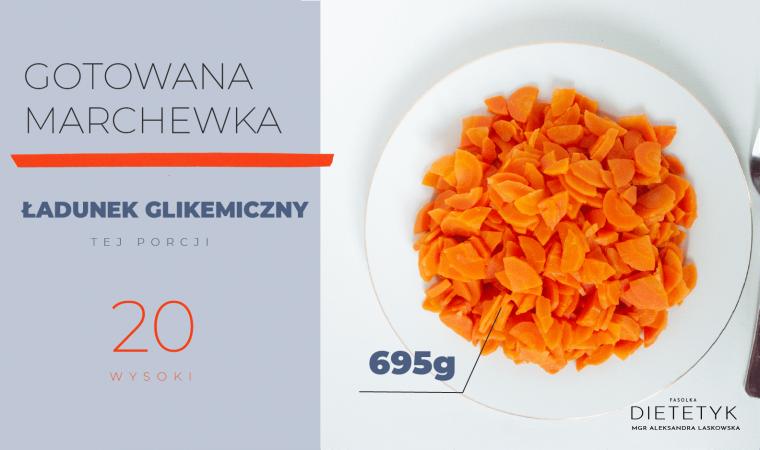 przedstawienie ilości gotowanej marchewki (695g), która ma wysoki ładunek glikemiczny
