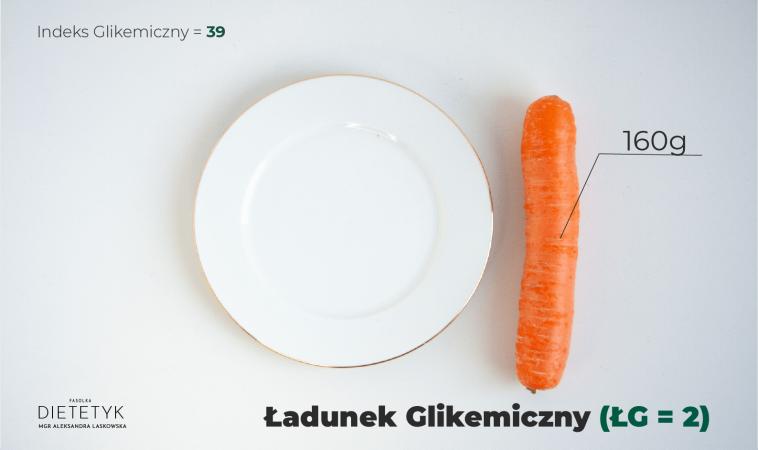ukazanie ilości marchewki, aby ładunek glikemiczny był niski - 1 sztuka