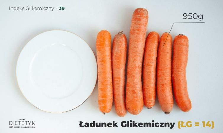 ukazanie ilości marchewki, aby ładunek glikemiczny był średni - 6 sztuk
