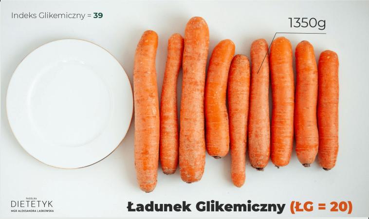 ukazanie ilości marchewki, aby ładunek glikemiczny był średni - 9 sztuk