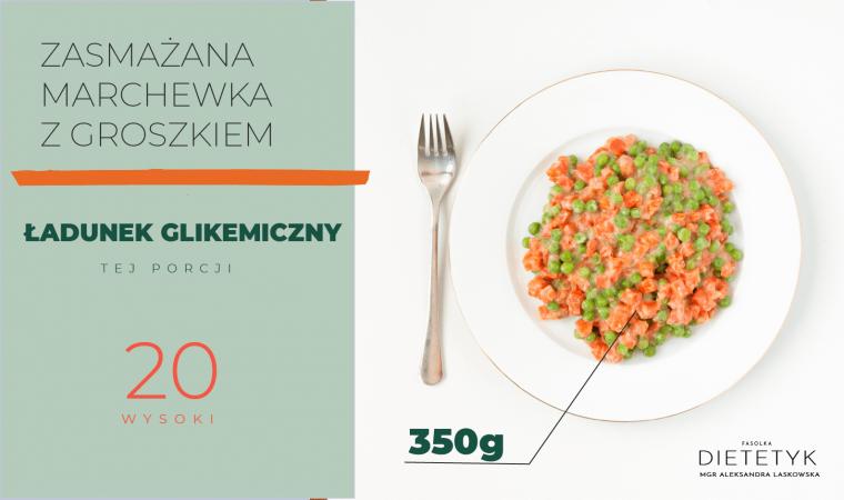 porcja zasmażanej marchewki z groszkiem (350g), która ma wysoki ładunek glikemiczny